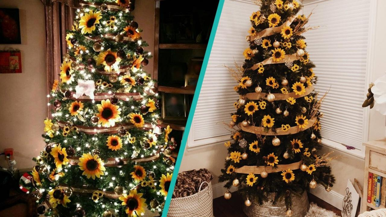 Sunflower Christmas Trees Are A Gorgeous Trend To Mix It Up This Xmas